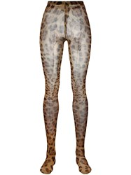Dolce And Gabbana Leopard Print Tights Brown