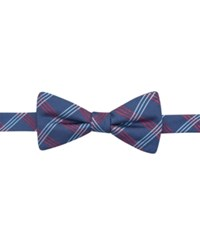 Countess Mara Navy Clear Grid Pre Tied Bow Tie Red