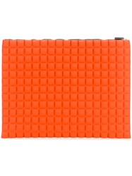 No Ka' Oi Extra Large Grid Textured Pouch Yellow And Orange