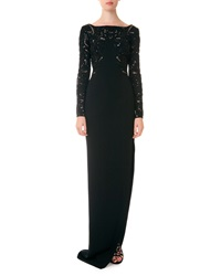 Zuhair Murad Long Sleeve Beaded Bodice Open Back Column Gown