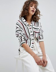 Suncoo Variegated Stripe Shirt Blanc Casse Multi