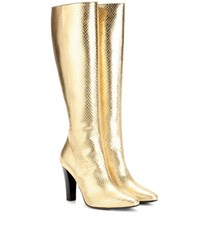 Saint Laurent Lily 95 Metallic Leather Boots Gold