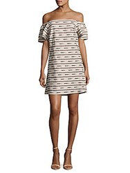 Alice Olivia Tula Printed Off The Shoulder Dress Off White