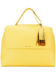 Orciani Fringed Detail Tote Yellow Orange