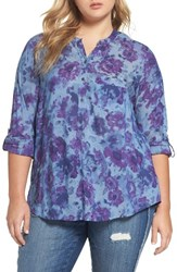 Lucky Brand Plus Size Women's Floral Print Chambray Top