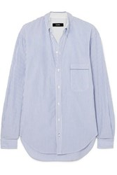 Bassike Striped Cotton Poplin Shirt Blue