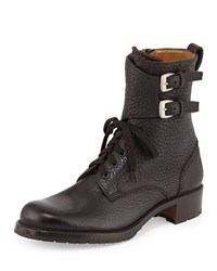 Gravati Double Buckle Leather Combat Boot Brown Brn