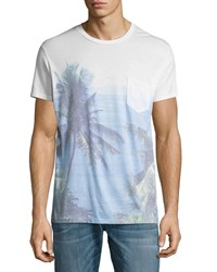 Sol Angeles Paraiso Palm Tree Pocket T Shirt Blue
