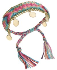 Inc International Concepts Gold Tone Multicolor Braided Friendship Bracelet Created For Macy's Blue