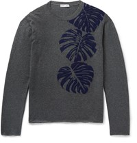 Valentino Palm Leaf Intaria Cahmere Weater Gray