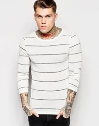 Asos Linen Mix Muscle Stripe Long Sleeve T Shirt With Boat Neck Off White