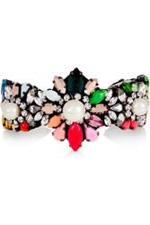Shourouk Rainbow Pearl Silver Plated Swarovski Crystal And Faux Pearl Cuff Pink