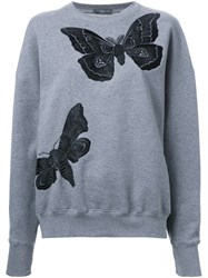 Alexander Mcqueen Butterfly Embroidered Sweatshirt Green