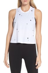 Ultracor 'S Swarovski Crop Racerback Tank White Black Onyx