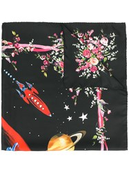 Dolce And Gabbana Space Floral Print Scarf Silk