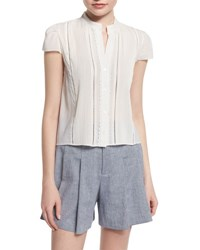 Alice Olivia Jaclyn Cap Sleeve Pintucked Blouse White