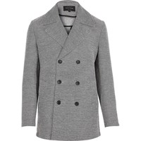 River Island Mens Grey Smart Double Breasted Pea Coat
