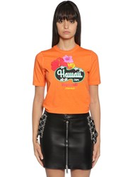 Dsquared Hawaii Print Cotton Jersey T Shirt Orange
