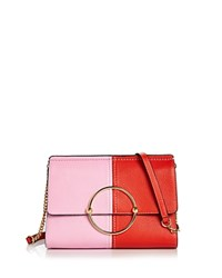 Milly Astor Flap Leather Crossbody Red Multi Gold