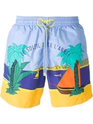 Vilebrequin Beach Scenery Print Swim Short Blue