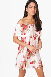 Boohoo Rose Pleat Floral Off Shoulder Double Layer Swing Dress Ivory