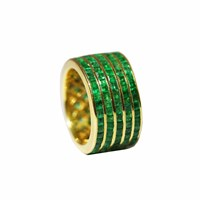 Maiko Nagayama Princess Cut Emerald Stripes Ring Gold Green