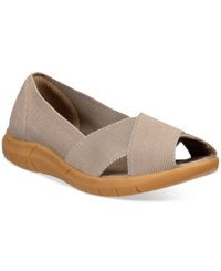 Bare Traps Kami Peep Toe Flats Women's Shoes Taupe