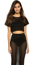 Ronny Kobo Shilpa Pointelle Knit Crop Tee Black