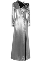 Cushnie Et Ochs Asymmetric Button Detailed Metallic Silk Blend Gown Silver