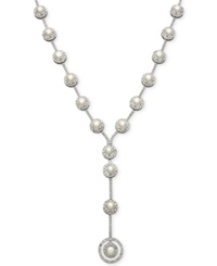 Belle De Mer Bridal Cubic Zirconia 36 3 4 Ct. T.W. And Cultured Freshwater Pearl 7Mm Y Necklace In Silver Plated Brass