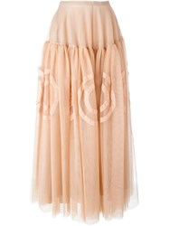Rochas Tulle Long Skirt Pink And Purple