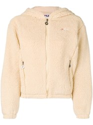 Fila Faux Shearling Hooded Jacket Nude And Neutrals