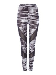 Label Lab Mono Fern Printed And Mesh Panel Legging Monochrome