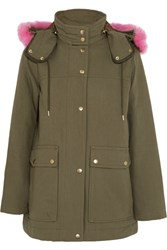 J.Crew Collection Faux Fur Trimmed Cotton Canvas Parka Army Green