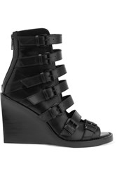 Ann Demeulemeester Buckled Leather Wedge Sandals Black