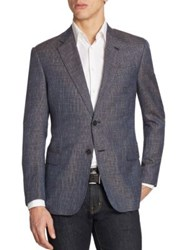 Armani Collezioni Houndstooth Wool Sportcoat Blue Grey
