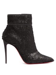 Christian Louboutin Moulakate 100 Sequin Ankle Boots Black