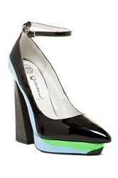 Jeffrey Campbell Power Cut Ankle Strap Platform Pump Blue