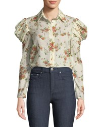 Brock Collection Tanner Button Front Voluminous Sleeve Rose Print Cotton Blouse Cream