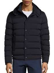 Moncler Quilted Hooded Jacket Navy