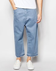Asos Super Wide Leg Jeans With Pinstripe Detail Light Blue