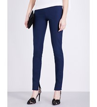 Roland Mouret Mortimer Slim Fit Stretch Cotton Trousers Navy