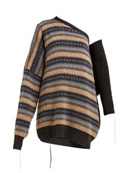 Raf Simons Oversized One Shoulder Striped Sweater Beige Multi