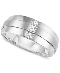 Triton Men's Three Stone Diamond Wedding Band Ring In Stainless Steel 1 6 Ct. T.W.