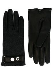Diesel Wool And Leather Gloves Black