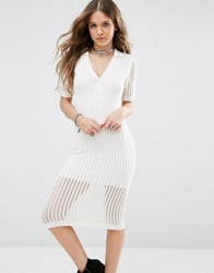 Honey Punch Bodycon Midi Dress In Mesh Cream