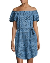Chelsea And Theodore Off The Shoulder Aztec Denim Dress Blue