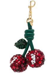 Anya Hindmarch Embellished Cherry Keyring Red