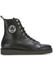 Mcq By Alexander Mcqueen Logo Patch Military Boots Black