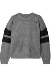 Current Elliott The Yates Distressed Striped Knitted Sweater Gray